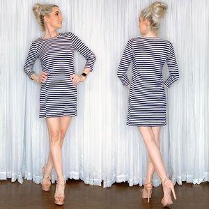 Banana Republic Blue Stripe Long Sleeve Dress